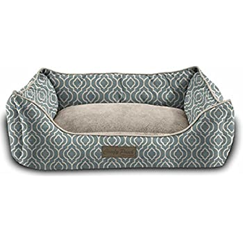 Pet Trendy Modern Chic Trellis Thick Bolstered-Microfiber Machine-Washable Pet Bed for Dog and Cat, 20-Inch x 28-Inch x 8-Inch, Sea Blue