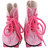 Theshy Glitter Doll Roller Skates for 18 Inch Our Generation American Girl Doll Doll Sneakers Silver Glitter Sneakers Perfect for Doll Clothes