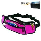 Casepax Travel Waist Bag Fanny Pack with Zipper Pockets Adjustable Belt for Sport Exercise Workout Vacation Hiking for iPhone 7 7S 6 6S Plus with BONUS RFID Blocking Card Holder, ES-610V2 Pink