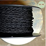 Fortunewill 25 ft 2-wire Vintage Black Twisted Cloth Covered Wire Cloth Cord 18/2 For Edison Hanging Pendant Vintage Light UL Certificated