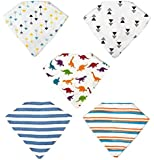 Perrassi Kids - Boys Bamboo Baby Bandana Bibs - 5 pack - Absorbent – Drool – Teething – Food – Dribble Bib, 100% Certified Organic Cotton - Funky and Cool Design - Perrassi Kids – Great for gifts