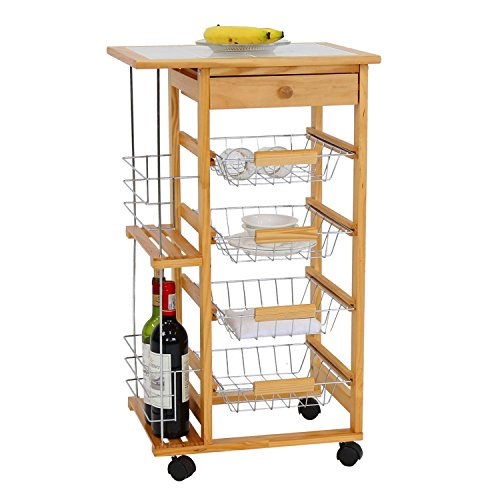 Portable Rolling Wooden Kitchen Storage Tile Top Island Drawers Trolley Cart