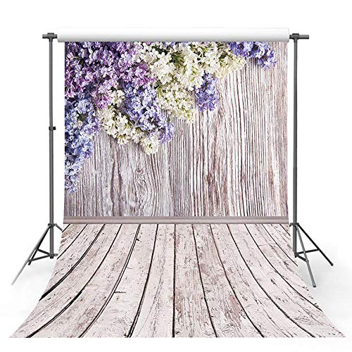 MEHOFOTO Photo Studio Booth Background Purple White Flower Floral Wood Backdrops for Photography 5x7ft