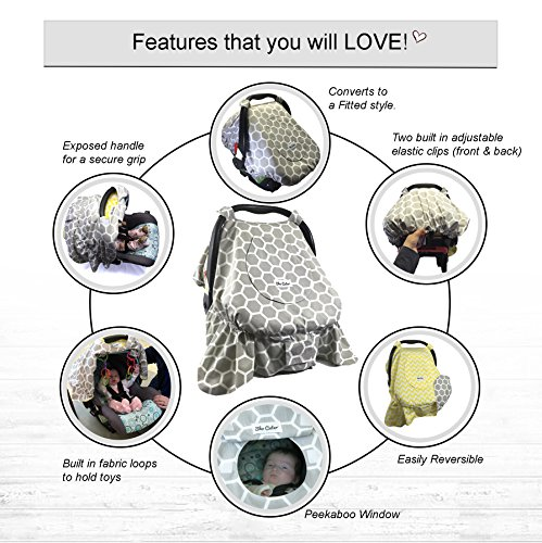 Sho Cute - [Reversible] All-Season Carseat Canopy | Multi-Use Car Seat Covers Unisex Gray Honey Comb u0026 Yellow Chevron Nursing Cover Universal Fit Baby Gifts ...  sc 1 st  2naps & Best price Sho Cute - [Reversible] All-Season Carseat Canopy ...