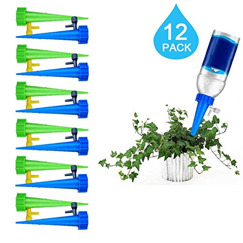 - Blueswan Automatic Watering Funnel, Flower Drip Spike Slow Release Vacation Plants Watering System for Outdoor Indoor Plants Tree Or Flower(Green+Blue) (12 Pcs)