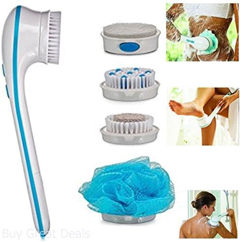 AIYIOUWEI 5 In1 Handheld Spin Massage Cepillo De Ducha Eléctrico Limpieza Cepillo De Baño Scrub Sistema De Centrifugación...