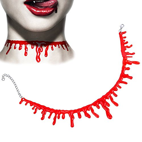 Helengili Choker Necklace Party Costumes Cut Neck Bloody Cosplay Bloodstains Halloween Pajamas Accessory Unisex (Creative Simple Halloween Costumes)