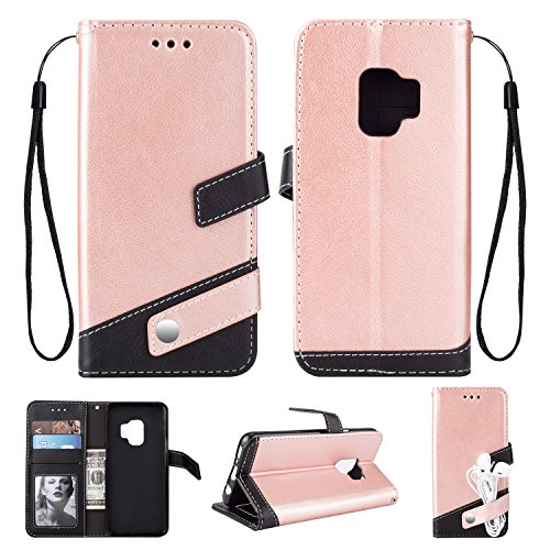 S Luxury Cash Credit Card Slots Holder Carrying Folio Flip Cover [Detachable Magnetic Hard Case] & Kickstand for Samsung Galaxy S9 (Rose Gold) ()