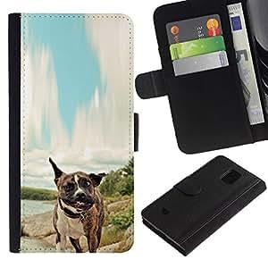 NEECELL GIFT forCITY // Billetera de cuero Caso Cubierta de protección Carcasa / Leather Wallet Case for Samsung Galaxy S5 Mini, SM-G800 // Pitbull Tiger perro del boxeador