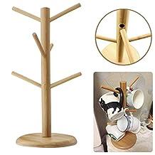 Santwo Wood Stand 6 Hooks Mug Holder Tree Wood Mug Rack Coffee Tee Cup Holder Stand Drying Rack Save Space (6 Hooks Mug Holder)
