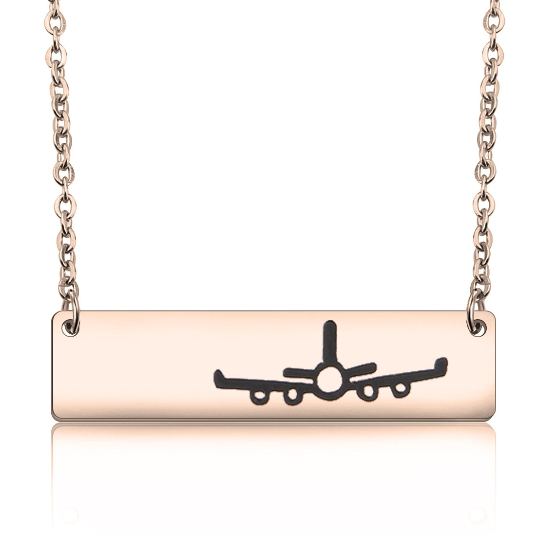WUSUANED Stainless Steel Airplane Plane Bar Pendant Necklace Gift for Traver Pilot Stewardess Flight Attendant (plane necklace rose gold)