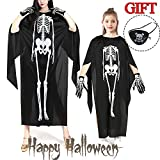 Halloween Costume for Women Girls Boys Skeleton Capes Party Favors Scary Cosplay Ghost Sets Halloween Gloves Eye Mask Dress Up Clothes