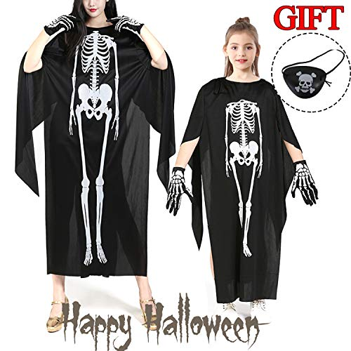 CHARMCZ Halloween Costume for Girls Boys Adult Skeleton Robe Capes Ghost Sets with Glove Eye Patch Cosplay Dress Up Party for $<!--$3.99-->