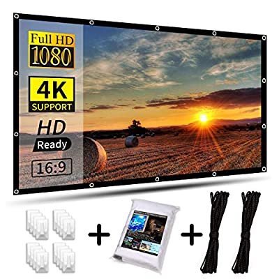 AIEX 120 Inch 16:9 4K HD Projector Screen Portable Foldable Anti-Crease Front and Rear Video Projection Screen Outdoor Indoor 3D Movie Projector Screen for Home Theater Office Double Sided Projection