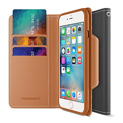 iPhone 6S Wallet Case, MAXBOOST Elegance Series iPhone Wallet Cover for iPhone 6 / 6S Protective PU Leather Card Case w/3 Card Slots + Side Pocket Flip Magnetic - Black/Brown