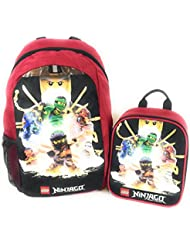 Lego Ninjago 16 Backpack Insulated Lunch Box Crew Mesh Pockets Masters of Spinjitzu 2 Piece Set