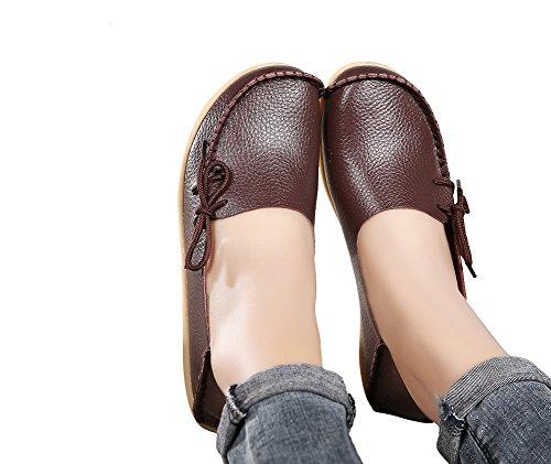 Verocara Kvinna Läder Snörning Tillfälliga Platta Skor Kör Loafers Mörkbrun