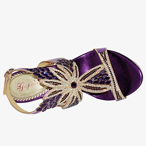 Sandals Summer Shoes Dress Doris Evening Wedding Rhinestone Women's Slippers Glitter Fashion Purple qxT0B67