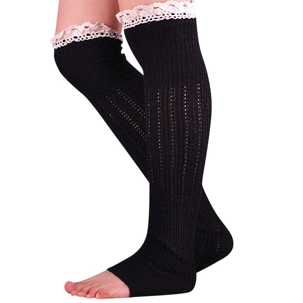DEELIN Calcetines Mujer Lady Cable Knit Over Knee Bota Larga Hasta El Muslo Calcetines De Encaje Leggings Calcetines De Color SóLido Para Niñas: Amazon.es: ...