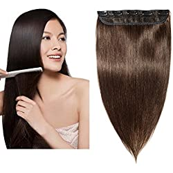 "Dark Brown 100% Remy Clip in Hair Extensions Human Hair #2 16-22 inch Grade AAAAA 3/4 Full Head 1 piece 5 clips Long Smooth Silky Straight for Women Fashion 20""/20 inch 50g"