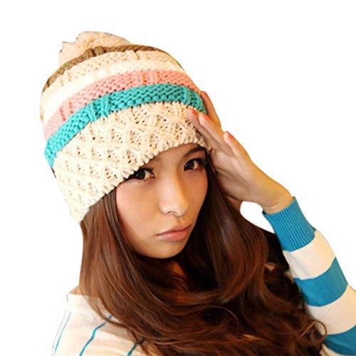 Vovotrade(TM) Womens Winter Ski Cap Knit Warm Hat Baggy Cute Beanies Big Pom (rice)