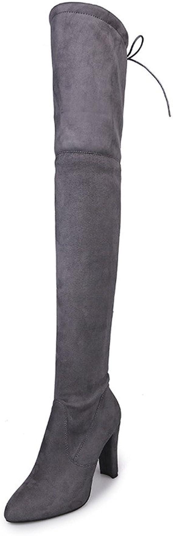 Women Winter Thigh High Boots Flat Heel Over the Knee Slim Leg Round Toe Booties