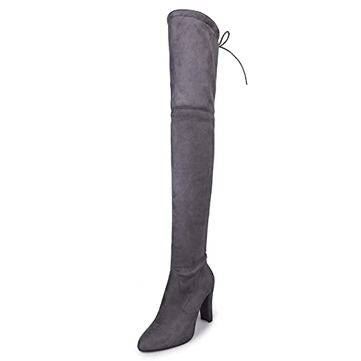 fd542460039c4 Amazon.com: Faionny Women High Heels Stretch Leather Boots Over Knee ...