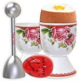 Mevis Line Egg Cups and Topper Cracker Set, Soft Hard Boiled Egg Kitchen Tool, includes 4 Eggs Holder, 4 Ceramic Spoons, 2 Egg Timer and 2 Egg Topper Cutter. White Ceramic with Rose German Design