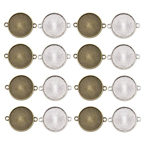 (JETEHO 20 Pack 2 Colors 25mm Circle Connector Pendant Trays - Pendant Blanks Cameo Bezel Settings Photo Jewelry for Custom Jewelry Making(1