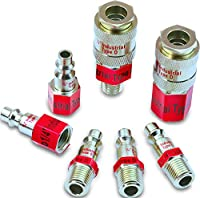 EPAuto Industrial Type D 1/4-Inch Coupler and Plug Kit, 7 Pieces