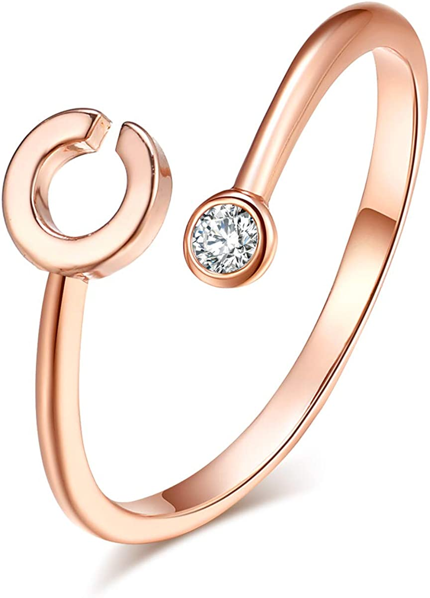 HUASAI Ross Gold Initial Ring for Women Adjustable 26 Stackable Alphabet Rings with Initial Name Knuckle Ring for Bridesmaid Gift (C)