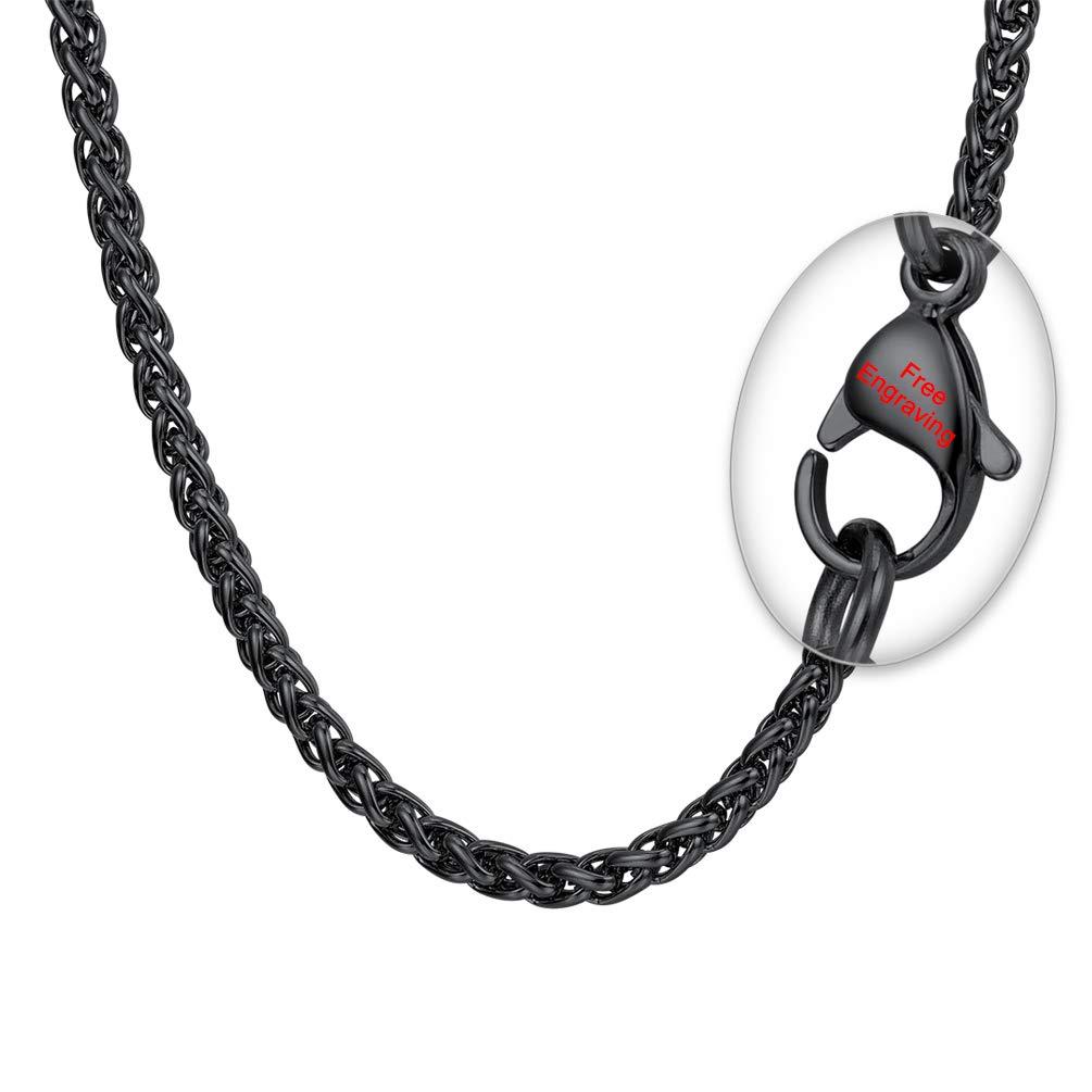 PROSTEEL Collar Hombre de Cadena de la Cuerda Plata de Ley//Acero Inoxidable 1.3mm//1.6mm//3mm//6mm de Di/ámetro 46//51//55//61//66//71//76cm de Longitud Plateado//Dorado//Negro para Seleccionar