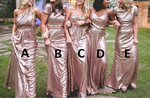 Wedding Long Sequins Evening IMG203 Maid Rose b of Honor Gowns Dresses Dress Style Prom Gold inmagicdress Bridesmaid Backless wx4X6qXU