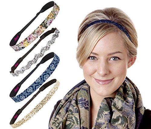 Hipsy Women's No Slip Headband Adjustable Blue & Gold (Blue & Gold Renaissance 5pk)