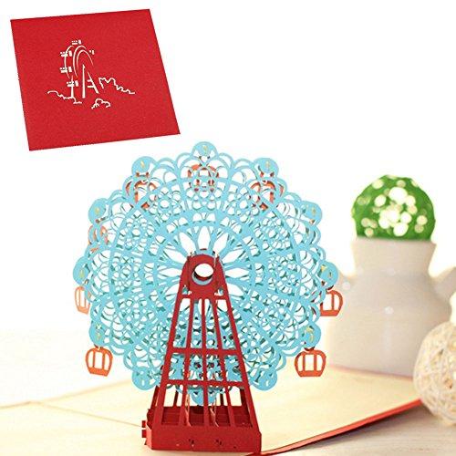 Free LAYs 3D Pop Up Greeting Card Ferris Wheel Handmade Card for Birthday Anniversary New Year Christmas