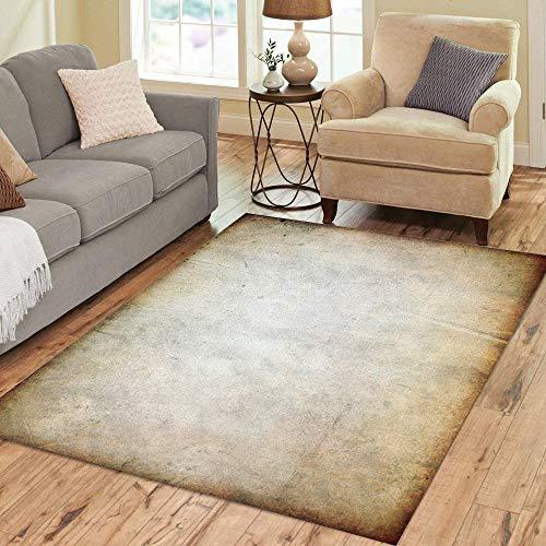 (Pinbeam Area Rug Beige Abstract Vintage Tan Ancient Blank Borown Brush Home Decor Floor Rug 5' x 7' Carpet)