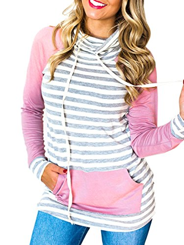 - Famulily Women's Turtle Neck Pullover Hoodies Stripe Colorblock Sweatshirts Tops(Pink,Small)