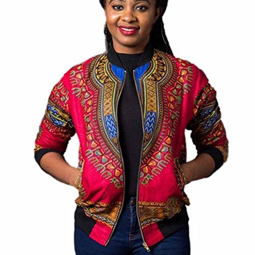 Women Long Sleeve light weight African Print Work Office Blazer Bomber Jacket (XL, Hot - African Woman Hot