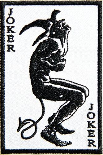 Joker Zombie Devil Card Hog Outlaw Logo Halloween Lady Biker Rider Punk Rock Tatoo Jacket T-shirt Patch Sew Iron on Embroidered Sign Badge Costume