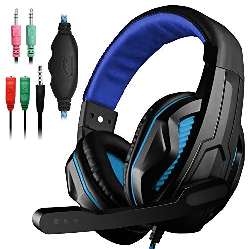 YuCool Gaming Headset,3.5mm Wired Bass Stereo Noise Isolation Gaming Headphones with Mic for Laptop Computer,Cellphone,PS4 and so on-Volume Control(Black and Blue)