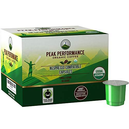 Organic Nespresso Compatible Capsules - Peak Performance Fair Trade Organic Espresso Coffee Pods (36 Count) Compatible With All Nespresso Original Line Capsule Brewers. Medium Roast Single Serve Pod