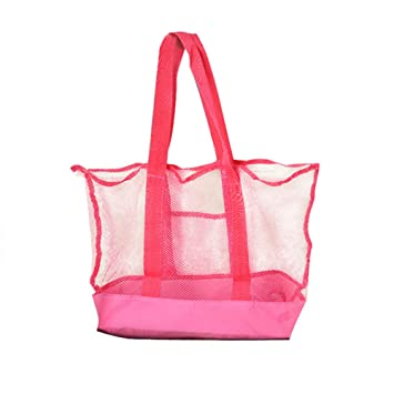 Toyvian Bolsas de Almacenamiento para Juguetes de Playa Bolsa de Malla de Playa portátil Tote al Aire Libre (Rosy)