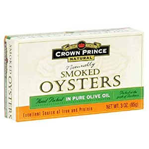 Crown Prince Natural Smoked Oysters in Pure Olive Oil, 3-Ounce Cans (Pack of 24)