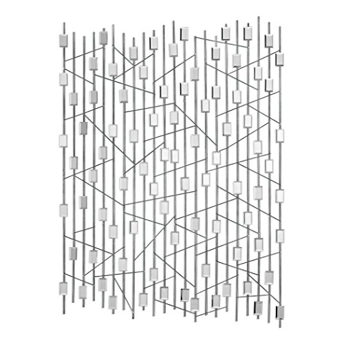 Art Wall Cage (Mirrored Modern Silver Abstract Wall Art | Sculpture Cage Open Geometric)