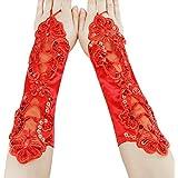 Child Kids Girls Satin Lace Fingerless Gloves First Communion Evening Fancy Dress Party Wedding Gloves 5-13yrs Red