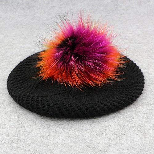 GZHILOVINGL Wool Knit Beret Hats for Women Spring Slouchy Beanie Cap with Pom Pom