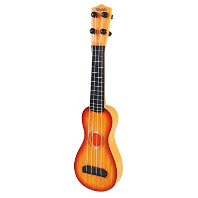 Kids Ukulele Plastic Classic 4 Strings Guitar Premium Musical Instruments Toy Mini Soprano Uke Acoustic Toys Guitar Starter Promote Brain Development Best Gift for 5 Age and up Children: Home & Kitchen