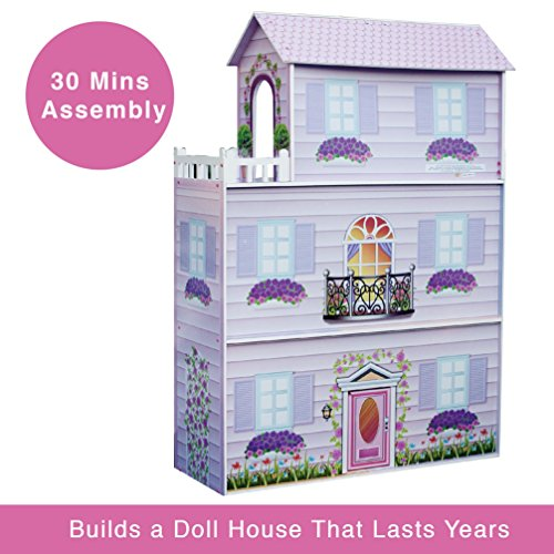 Teamson Kids Fancy Mansion Wooden Doll House With 13 Pcs
