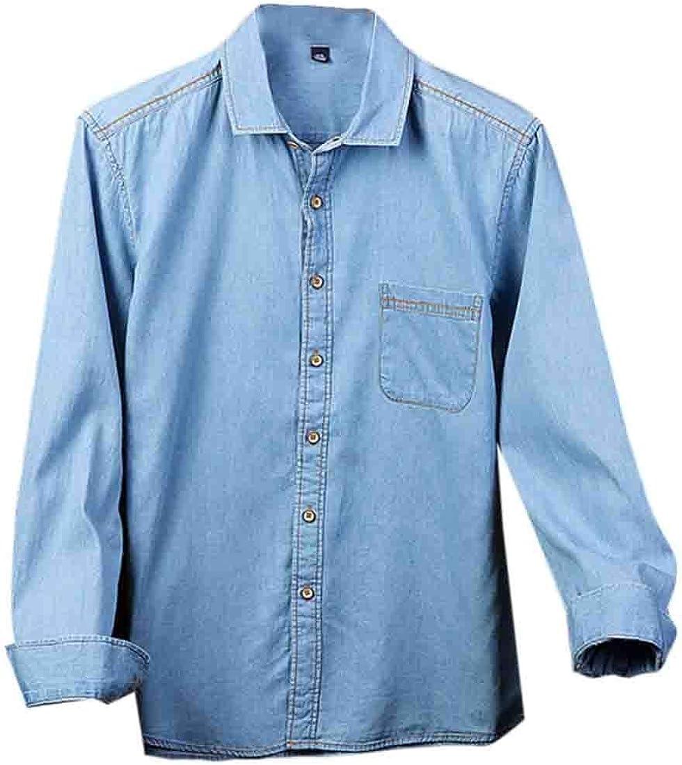 XQS Mens Classic Button Down Long Sleeve Denim Tops Shirts