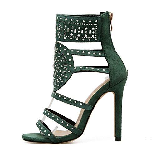 Pointu D'été Strass Classique Mariée Dames Sexy Soirée Pompes Hauts De Zipper Sandales Talons Femmes Chaussures Gommage green Paillettes ZEdc7qq